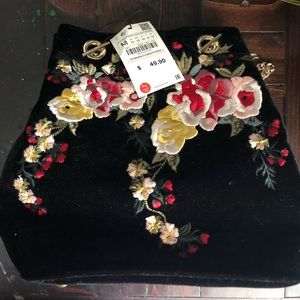 Black velvet bag with floral embroidery